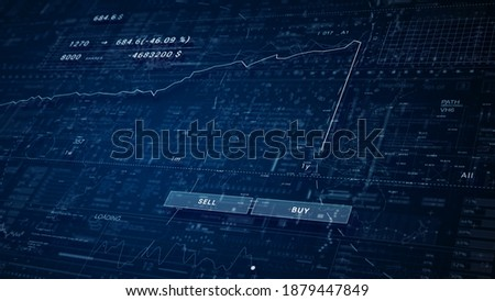 Stock market crash.Share falling down diagram.Red chart.HUD stock trading application.HUD diagram technological intro. Business and finance stock market background or template.2D graphic. Stock photo ©