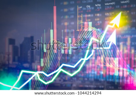 Stock market digital graph chart on LED display concept. A large display of daily stock market price and quotation. Indicator financial forex trade education background.