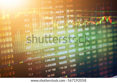 Stock market digital graph chart, Stock market data on LED display concept.  A large display of daily stock market price and quotation. #567192058