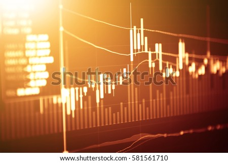Stock market digital graph chart, Stock market data on LED display concept.a large display of daily stock market price and quotation. #581561710