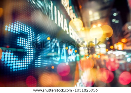 Stock market display in the city