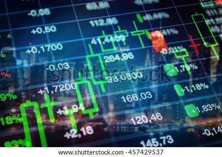 Stock market, finance, economy, banking concept background. Stock market trading graph, financial data and market tickers at blue background. Financial collage for business and finance theme.