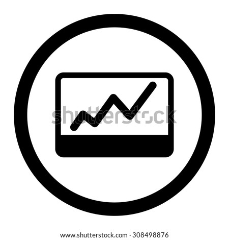 Stock Market glyph icon. This flat rounded symbol uses black color and isolated on a white background.