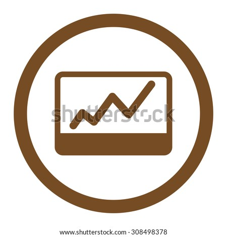 Stock Market glyph icon. This flat rounded symbol uses brown color and isolated on a white background.