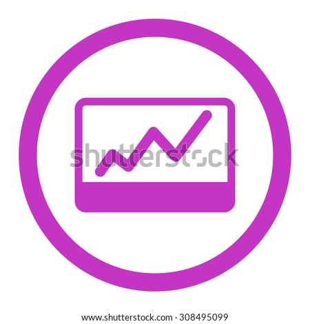 Stock Market glyph icon. This flat rounded symbol uses violet color and isolated on a white background.