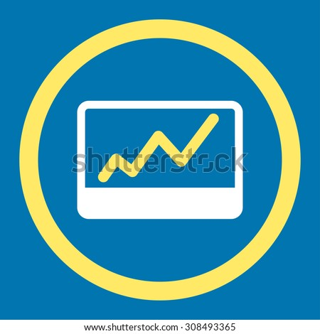 Stock Market glyph icon. This flat rounded symbol uses yellow and white colors and isolated on a blue background.