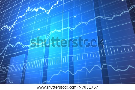 Stock Market Graph and Bar Chart