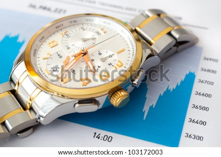 Stock market graph and luxury wristwatch