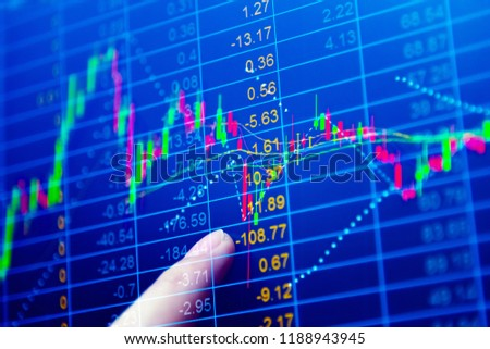 Stock market graph chart. The digital information for Forex trading market.