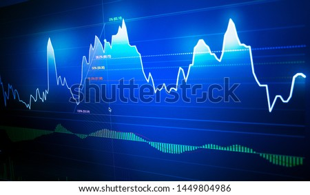Stock market graph chart with fibonacci indicator on LED Monitor with dark blue background, stock markets graph analysis concept