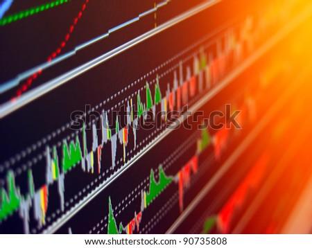 Stock market graph on computer screen. Selective focus.