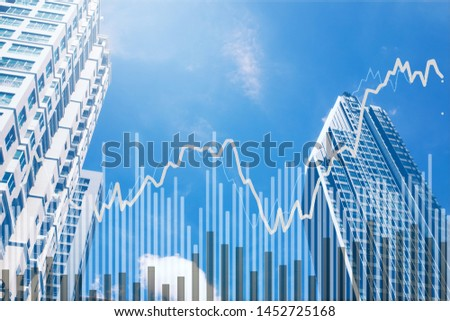Stock market graph with volume indicator in modern business Skyscraper, concept for stock trading and financial markets