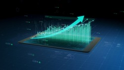 Stock market growth, financial success results monitored on a tablet or phone, numbers and arrows. 3D close up view, 4K 30fps.