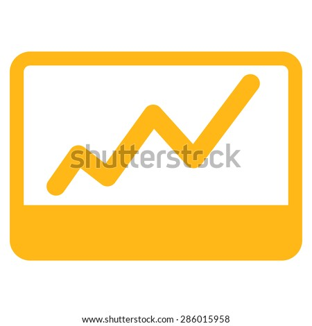 Stock Market icon from Business Bicolor Set. This flat glyph symbol uses yellow color, rounded angles, and isolated on a white background.