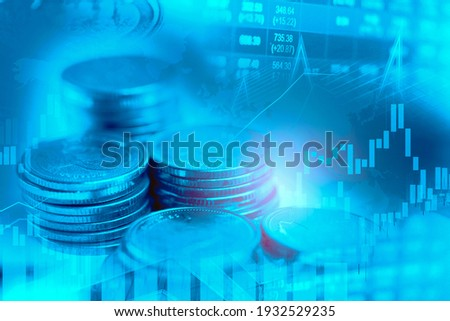 Stock market investment trading financial, coin and graph chart or Forex for analyze profit finance business trend data background. Stockfoto ©