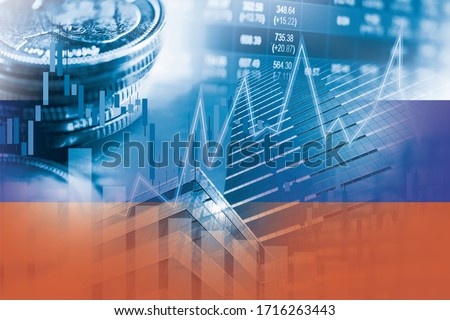 Stock market investment trading financial, coin and Russia flag or Forex for analyze profit finance business trend data background. Stockfoto ©