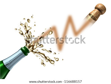 Stock market launch and profit celebration business success as a champagne bottle popping the cork and explosion in the shape of a stock market chart for a new IPO or initial public offering. - stock photo