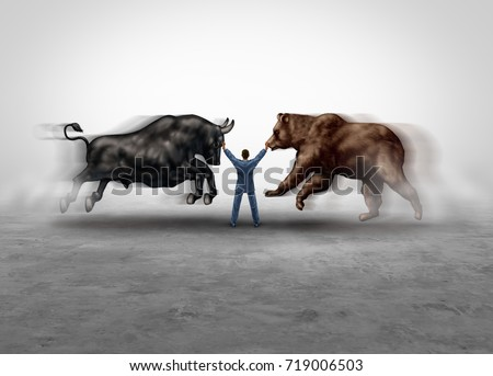 Stock market management and financial economic expert managing bear and bull markets metaphor as a skilled managing consultant in a 3D illustration style.