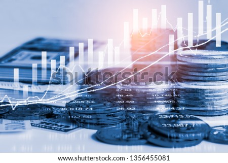 Stock market or forex trading graph and candlestick chart suitable for financial investment concept. Economy trends background for business idea and all art work design. Abstract finance background. #1356455081
