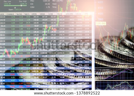 Stock market or forex trading graph and candlestick chart suitable for financial investment concept. Economy trends background for business idea and all art work design. Abstract finance background. #1378892522