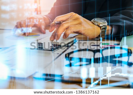 Stock market or forex trading graph and candlestick chart suitable for financial investment concept. Economy trends background for business idea and all art work design. Abstract finance background. #1386137162