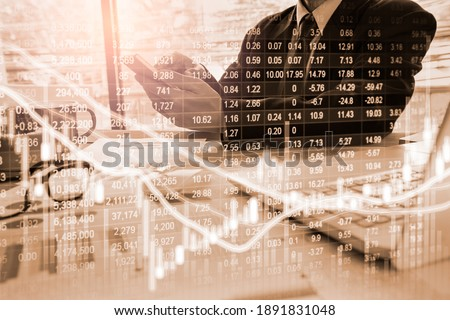 Stock market or forex trading graph and candlestick chart suitable for financial investment concept. Economy trends background for business idea and all art work design. Abstract finance background. Stockfoto ©