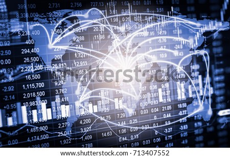 Stock market or forex trading graph and candlestick chart suitable for financial investment concept. Economy trends background for business idea and all art work design. Abstract finance background. #713407552