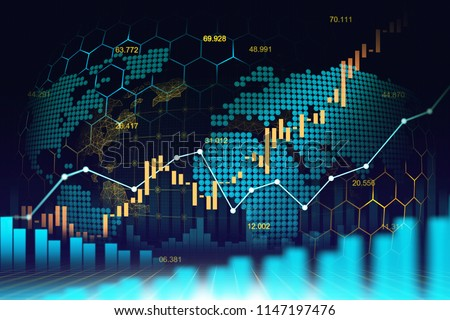 Stock Market or Forex trading graph in futuristic graphic concept suitable for World Economic or Big Data analysis Global network idea and all art work design , Abtract finance background