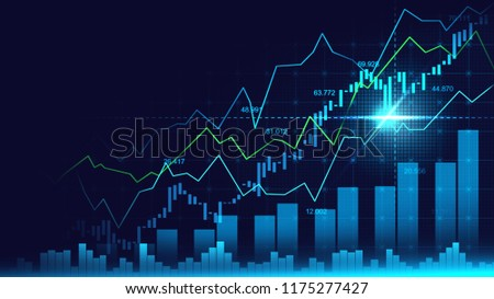 Stock market or forex trading graph in graphic concept with copyspace suitable for financial investment or Economic trends business idea and all art work design. Abstract finance background