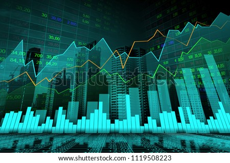 Stock market or forex trading graph in graphic double exposure concept suitable for financial investment or Economic trends business idea and all art work design. Abstract finance background