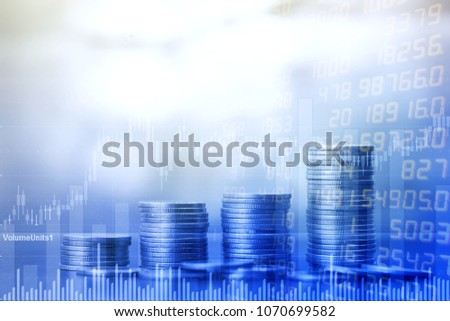 STOCK MARKET or Trading Graph and Coin on Spreadsheet Excel Research Financial Accounting Summary Analysis Report, Double Exposure Business Financial Business DATA   Report and Stock Market