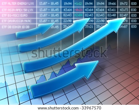 Stock market positive trend. Digital illustration.