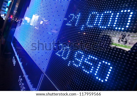 Stock market price display abstract in modern city