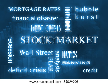 Stock market related words on blue background