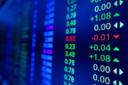 Stock market ticker analysis. Stock market data on LED display on laptop screen for finance and economic. Business graph background.