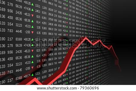 Stock Market Ticker Board Black - stock photo