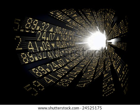 Stock market ticker boards circular arranged as a tunnel with light at the end