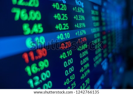 Stock market trading graph and candlestick chart for financial investment concept. Abstract finance background. #1242766135