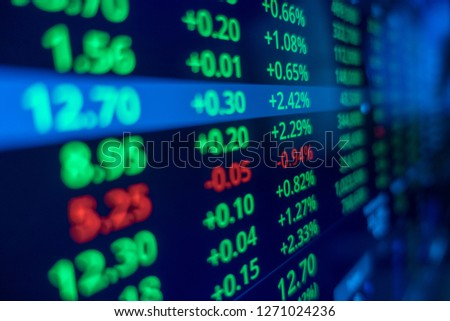 Stock market trading graph and candlestick chart for financial investment concept. Abstract finance background. #1271024236