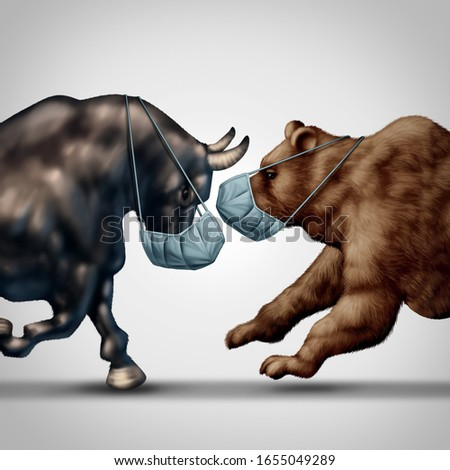 Stock market virus fear or bull and bear economic crisis and sick financial health as a business recession concept or metaphor for uncertainty in investing sentiment in a 3D illustration style.
