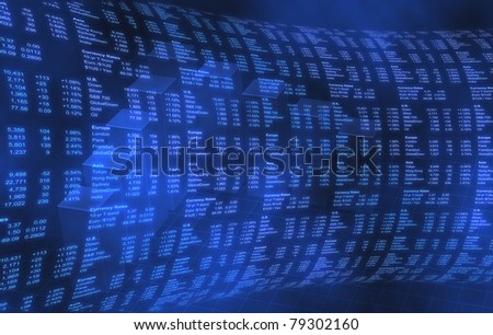 Stock Market World Markets on Blue Background