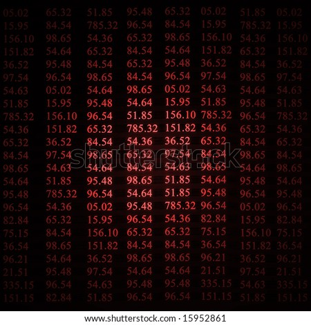 stock numbers on a red background