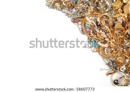 Stock of gold sets on white background