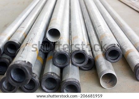 Stock of iron pipes  on construction