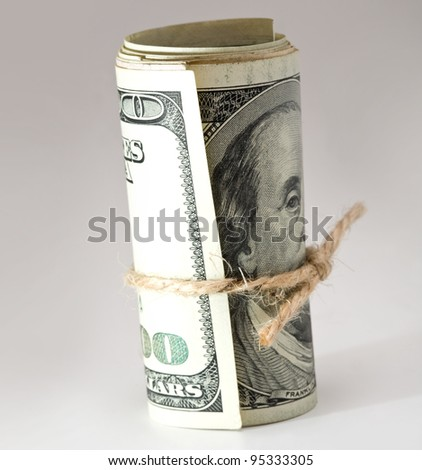 stock of money isolated on gray background
