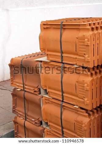 Stock of tiles in wait of use