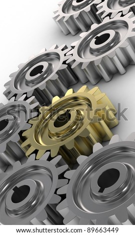 Stock Photo: abstract 3d illustration of background with steel gear wheels