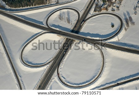Stock Photo: Aerial View of Highway in Winter with Snow