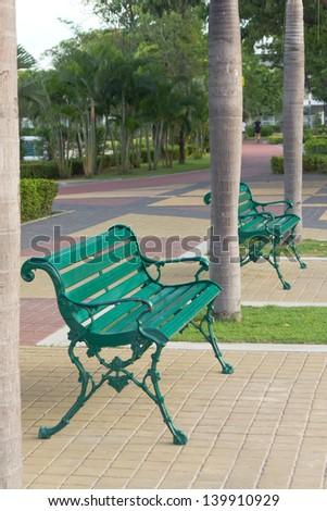 Stock Photo - beautiful metal garden chair in garden
