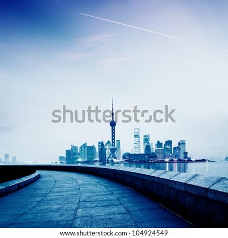 Stock Photo: beautiful night view of shanghai skyline